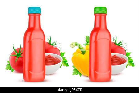 Tomato ketchup bottle isolated on white background - Stock Photo