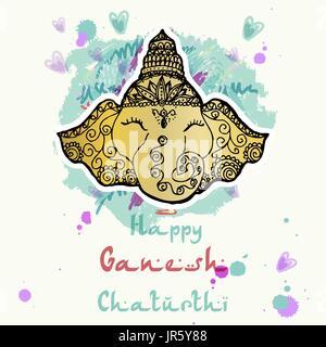 Festive illustration of the birthday of the Indian God Ganesha - Stock Photo