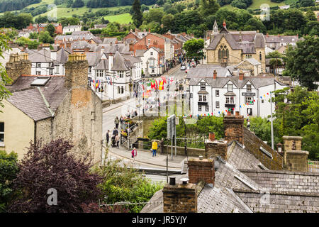 The Welsh town of Llangollen home of the International Eisteddfod and a popular destination for tourists - Stock Photo