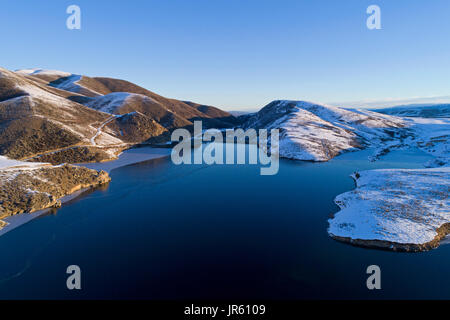 Falls Dam, Maniototo, Central Otago, South Island, New Zealand - drone aerial - Stock Photo
