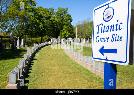 Titanic Grave Site, Fairview Lawn Cemetery, Halifax, Nova Scotia, Canada - Stock Photo