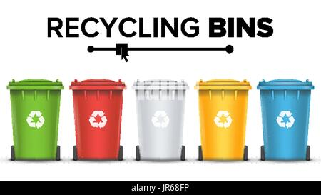 Recycling Bins Isolated Vector. Set Of Red, Green, Blue, Yellow, White Buckets. For Paper, Glass, Metal, Plastic - Stock Photo