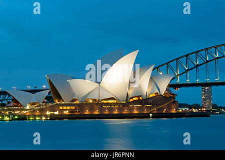 Sydney, Australia - October 18, 2015: Night view of Sydney Opera House see from Mrs Macquarie's Chair in Sydney, - Stock Photo