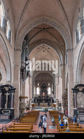 interior of Trier Cathedral (High Cathedral of Saint Peter), reportedly the oldest cathedral in the country, Trier, - Stock Photo