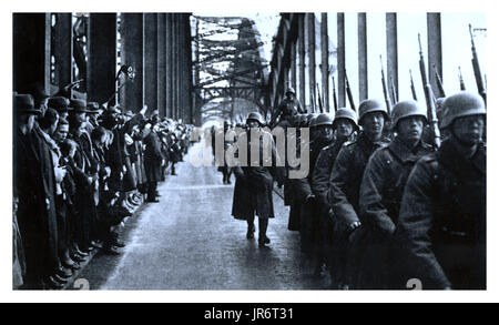 NAZI ARMY INVASION RHINELAND On March 7, 1936, a total of 30,000 soldiers of the Wehrmacht crossed the Rhine bridges - Stock Photo