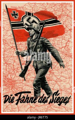 FRANCE OCCUPATION NAZI GERMANY Vintage Nazi Germany WW2  'The flag of victory' Nazi Propaganda Poster. Showing a - Stock Photo