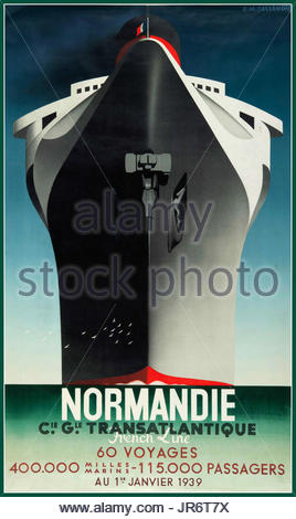 """Vintage retro French Normandie Transatlantique Shipping Cruising poster design by A.M Cassandre """"Normandie French - Stock Photo"""