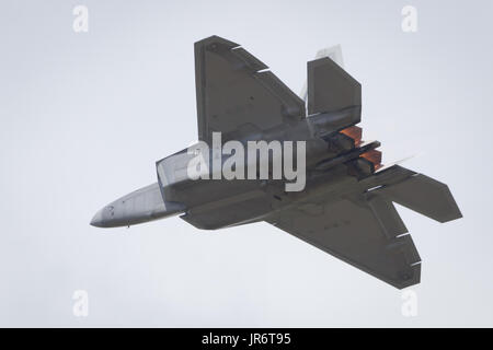 Fairford, Gloucestershire, UK - July 10th, 2016: Lockheed Martin F-22 Raptor performing at Fairford International - Stock Photo