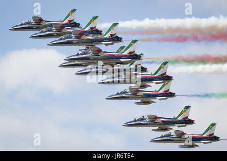 Fairford, Gloucestershire, UK - July 10th, 2016: The Italian Air Force Frecce Tricolori Display Team perform at - Stock Photo