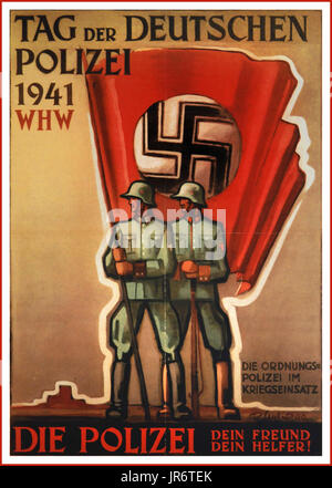 Vintage WW2 German propaganda poster Day of the German Police 1941 The order in the military service The Police - Stock Photo
