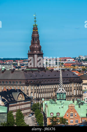 Aerial view of Copenhagen city center, Denmark - Stock Photo