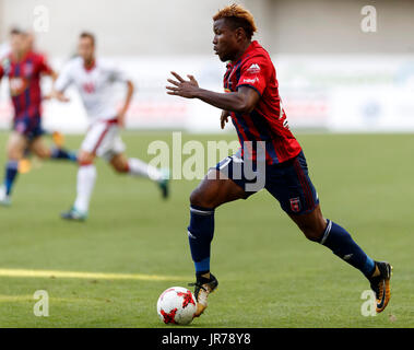 Felcsut, Hungary. 3rd August, 2017. Ezekiel Henty of Videoton FC controls the ball during the UEFA Europa League - Stock Photo