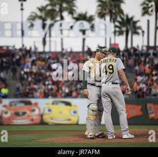 San Francisco, California, USA. 3rd August, 2017. Already down by 2 runs in the first inning, Oakland Athletics - Stock Photo
