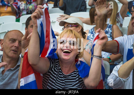 London, UK. 04th Aug, 2017. London, 2017-August-04. A TeamGB supporter at the IAAF World Championships London 2017. - Stock Photo