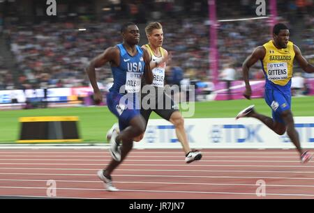 Stratford, UK. 4th Aug, 2017. Christian Coleman (USA) in the 100m heats. IAAF World athletics championships. London - Stock Photo