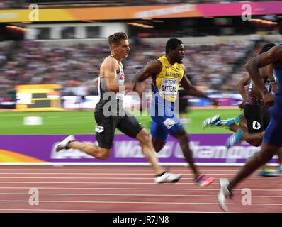 Stratford, UK. 4th Aug, 2017. Julian Reus (GER) in the 100m heats. IAAF World athletics championships. London Olympic - Stock Photo
