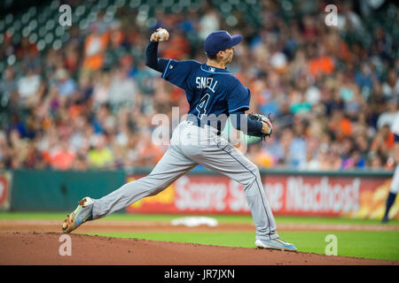 August 3, 2017: Tampa Bay Rays starting pitcher Blake Snell (4) in action during a Major League Baseball game between - Stock Photo