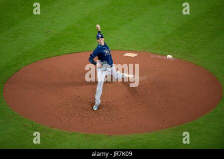 August 3, 2017: Tampa Bay Rays starting pitcher Blake Snell (4) during a Major League Baseball game between the - Stock Photo