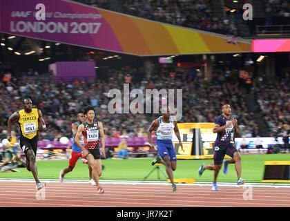 Stratford, UK. 4th Aug, 2017. Usain Bolt (JAM, left) and James Dasaolu GBR, 2nd right) in the mens 100m heats. IAAF - Stock Photo