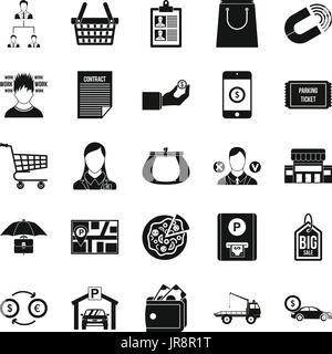 Outlay icons set, simple style - Stock Photo