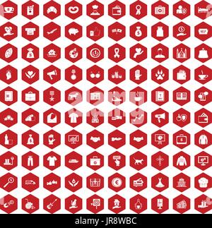 100 charity icons hexagon red - Stock Photo