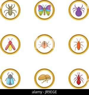 Forest insects icons set, cartoon style - Stock Photo