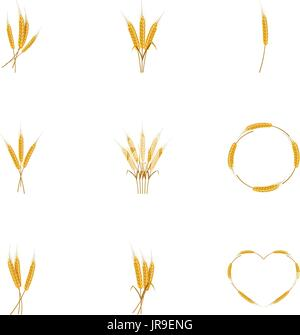 Wheat ears or rice icons set, cartoon style - Stock Photo