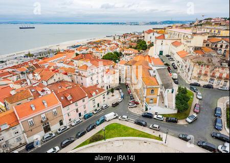 Lisbon orange roofs aerial view - Stock Photo