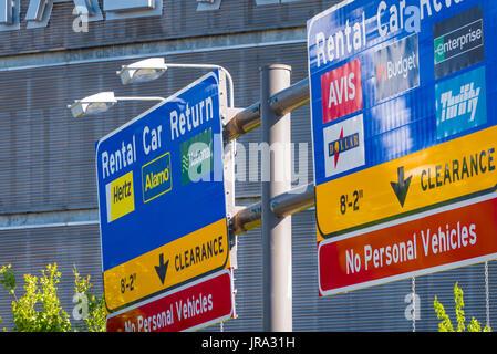 Rental Car Return signage at Memphis International Airport in Memphis, Tennessee, USA.