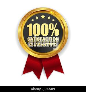 100% Satisfaction Guaranteed Golden Medal Label Icon Seal  Sign  - Stock Photo