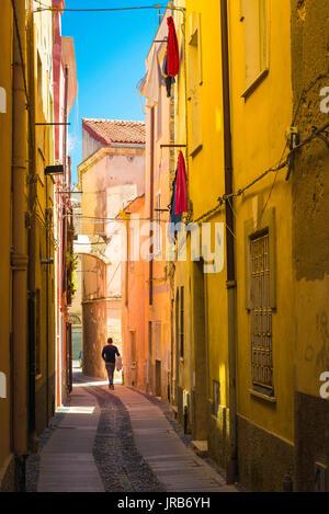 Sassari Sardinia old town, a typically narrow street in the old town neighbourhood of Sassari, Sardinia. - Stock Photo