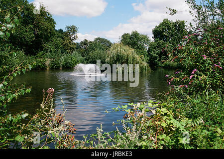 Lake and fountain at Clissold Park, Stoke Newington, North London UK - Stock Photo