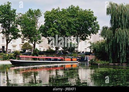 The Regents Canal and narrowboat at Little Venice, Maida Vale, London UK - Stock Photo
