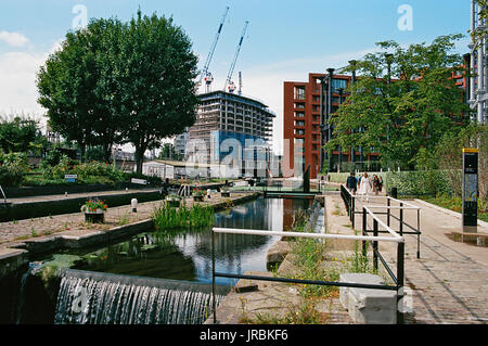 St Pancras Lock on the Regents Canal at Kings Cross, London UK, near to Gas Holder Park - Stock Photo