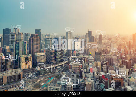 Blank space for text on Osaka city and bubble chat for communication. Technology and communication concept. Internet - Stock Photo