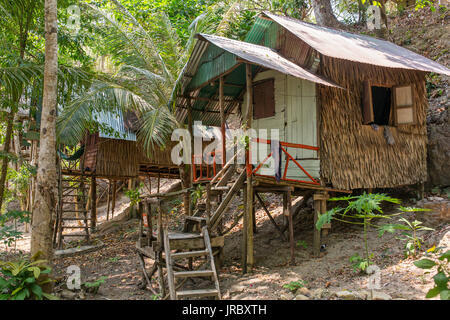Bamboo hut on Koh Chang island in Thailand - Stock Photo