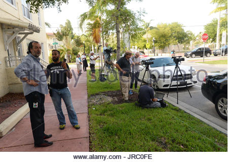 FBI agents execute search warrants at CONCACAF HQ in Miami as part of FIFA scandal. General view of the Miami Beach - Stock Photo