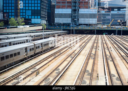 Empty tracks in the Hudson Yards leading into Penn Station on Sunday, July 30, 2017 as Amtrak repairs interlockings - Stock Photo
