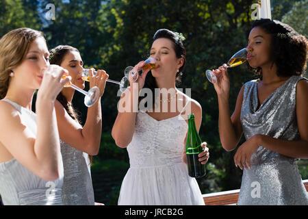 Bride and bridesmaids having champagne at park - Stock Photo