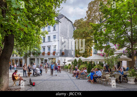 Cafe on Schillerstrasse in the old town, Weimar, Thuringia, Germany - Stock Photo