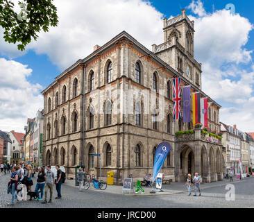 Town Hall (Rathaus), Marktplatz, Weimar, Thuringia, Germany - Stock Photo