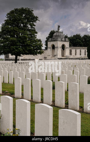The poignant atmosphere of the World War 1 Commonwealth cemetery at Tyne Cot, Passchendaele, Zonnebeke, near Ypres - Stock Photo