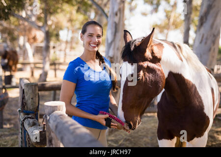 Portrait of female jockey cleaning horse while standing at paddock - Stock Photo
