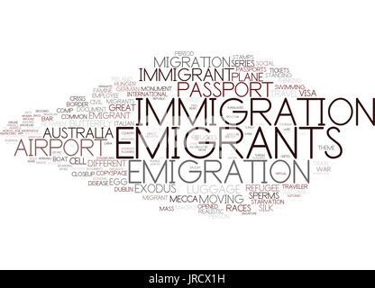 emigrants word cloud concept - Stock Photo