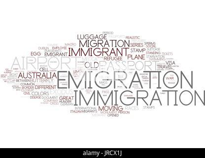 emigration word cloud concept - Stock Photo