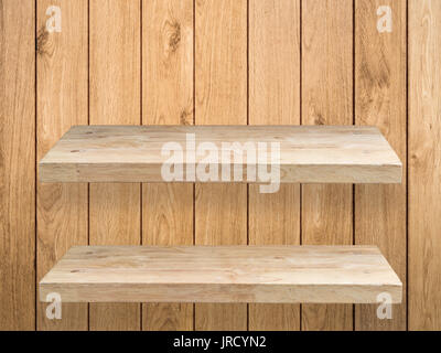 two wooden shelves on wooden background Stock Photo ...