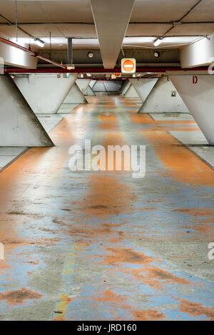 Old decrepit underground parking lot. - Stock Photo