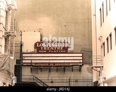 LOS ANGELES, CALIFORNIA - OCTOBER 27, 2016: Los Angeles Theatre sign - Stock Photo