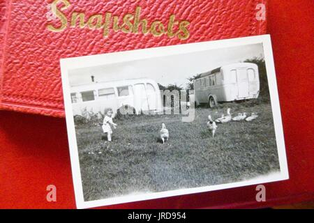 1950s black and white holiday snapshot, Ingoldmells, Lincolnshire , UK - Stock Photo