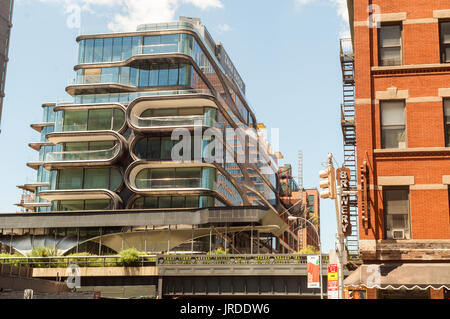 Construction of the Zaha Hadid designed condo along the High Line in West Chelsea in New York on Sunday, July 30, - Stock Photo